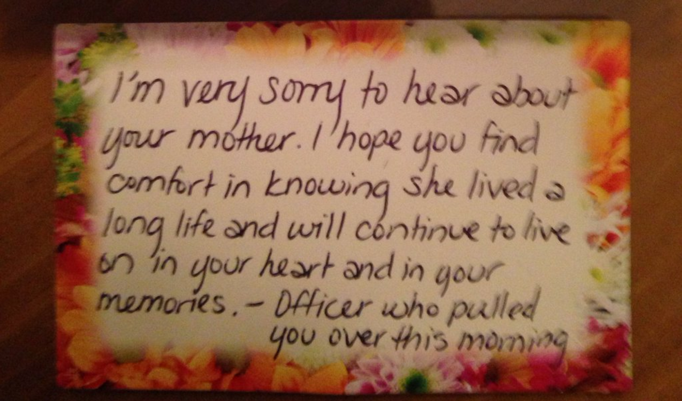 Note from cop