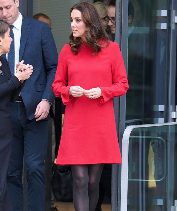 pregnant kate red dress