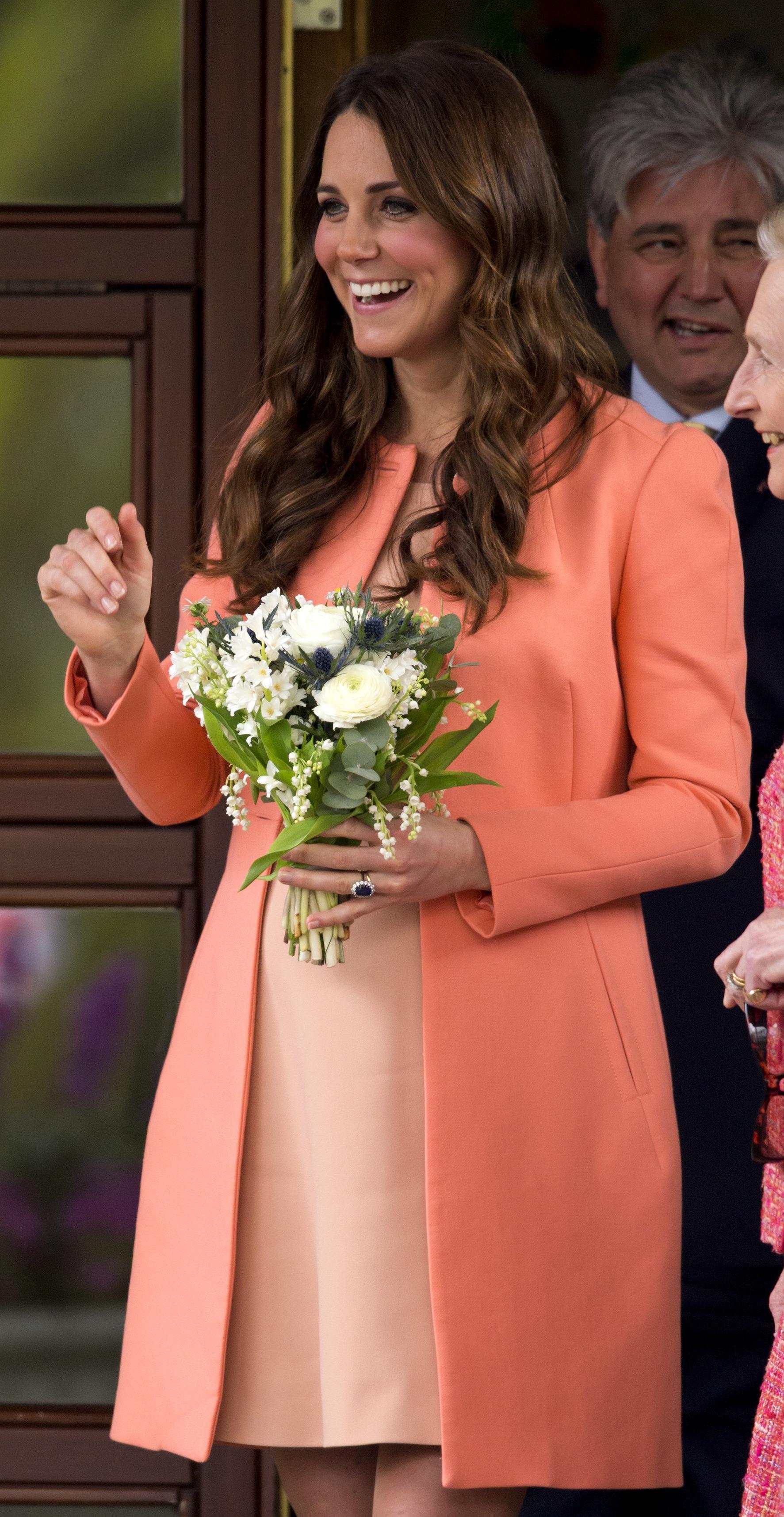 Kate Middleton Pregnant 2013 Peach Coat Getty