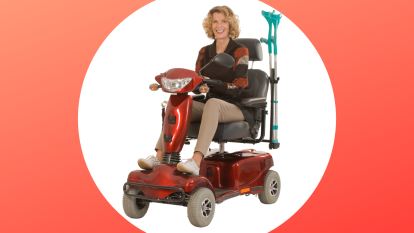 woman on a mobility scooter