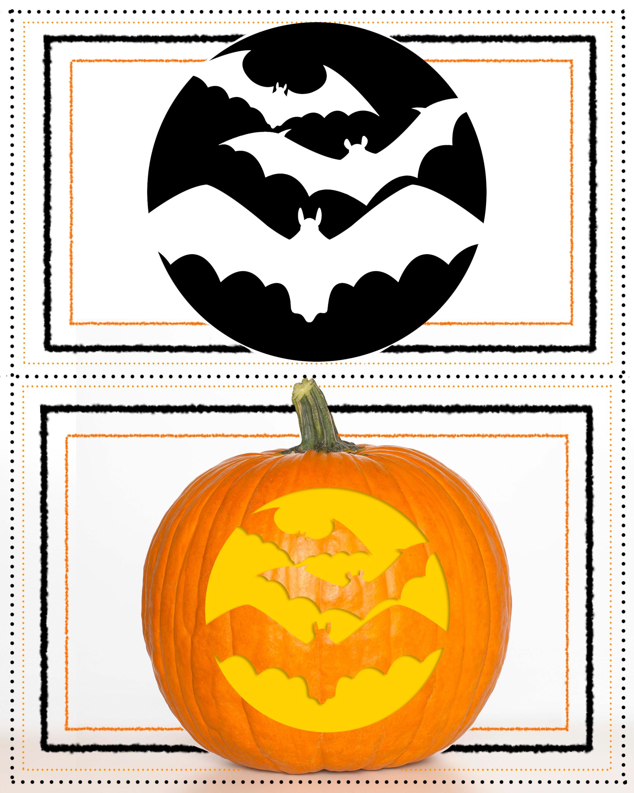 Pumpkin Stencil Bat