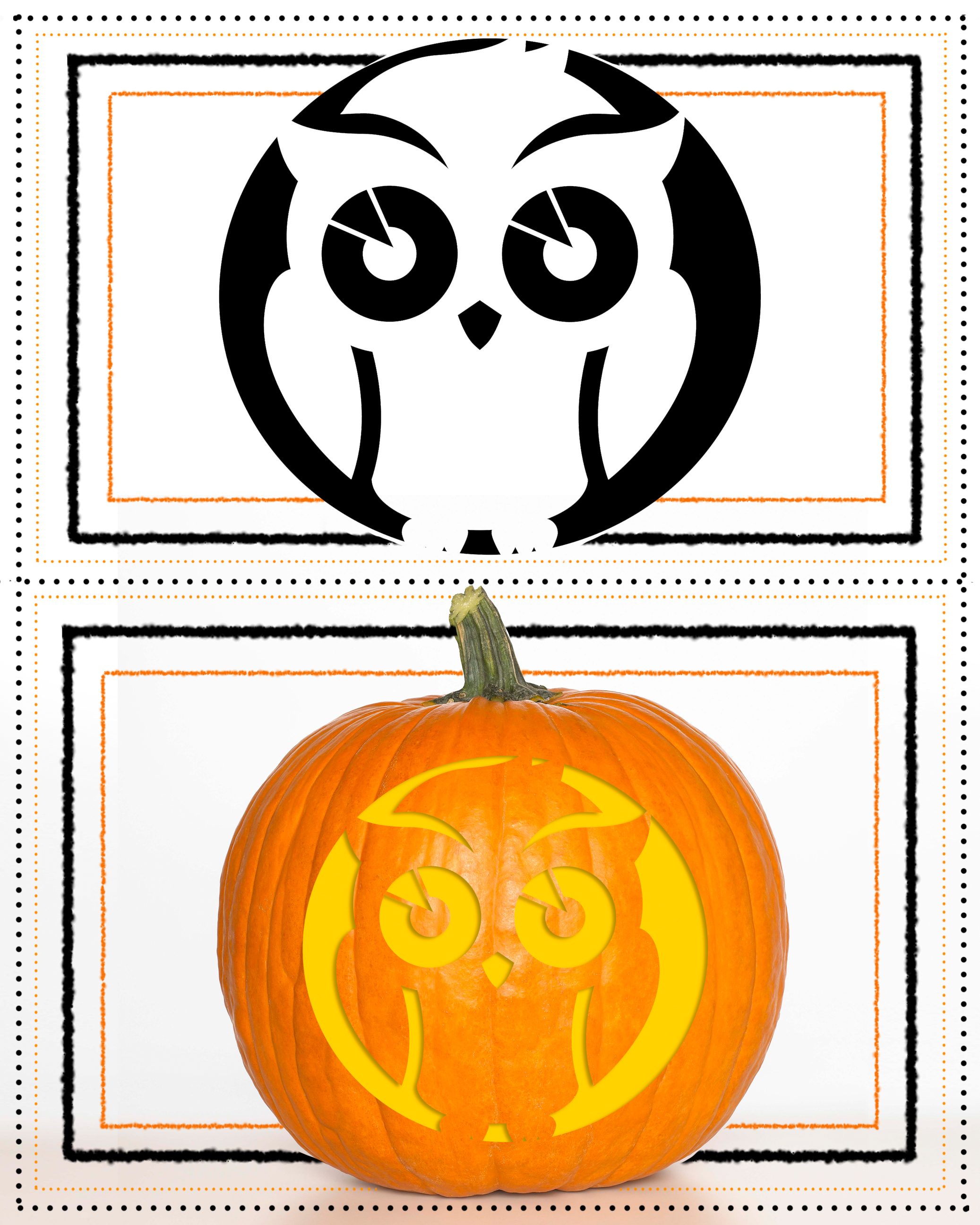 Pumpkin Stencil Owl