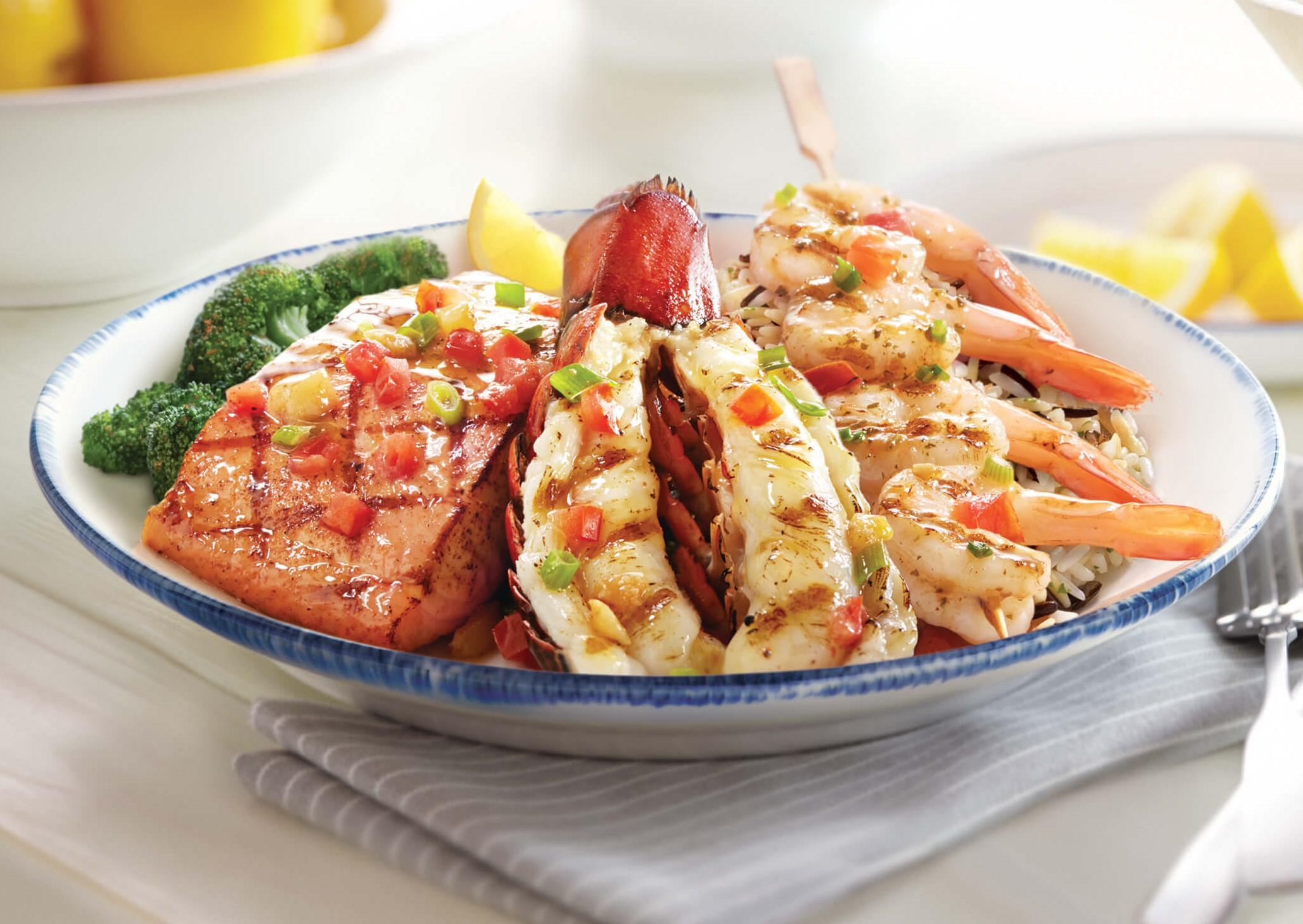 wood-grilled lobster, shrimp, and salmon at red lobster
