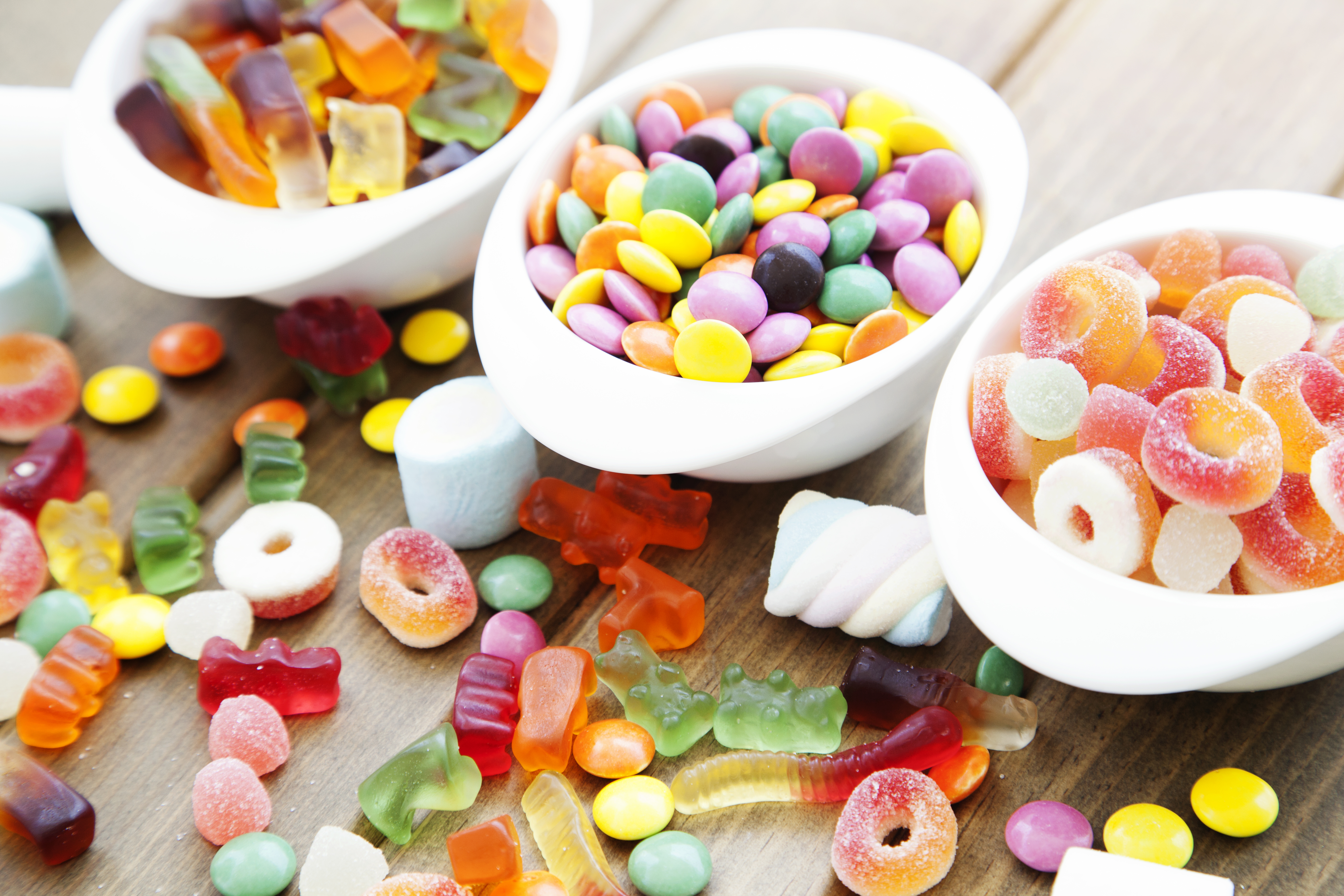 bowls of different candy
