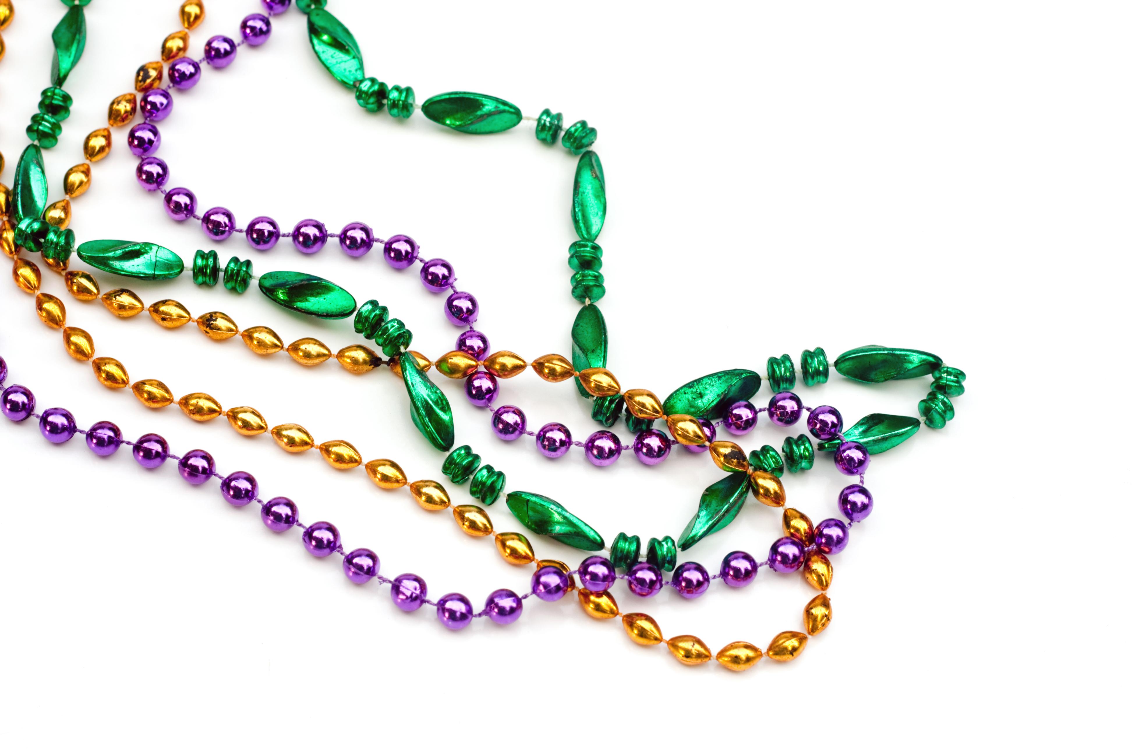 mardi gras beads purple green gold