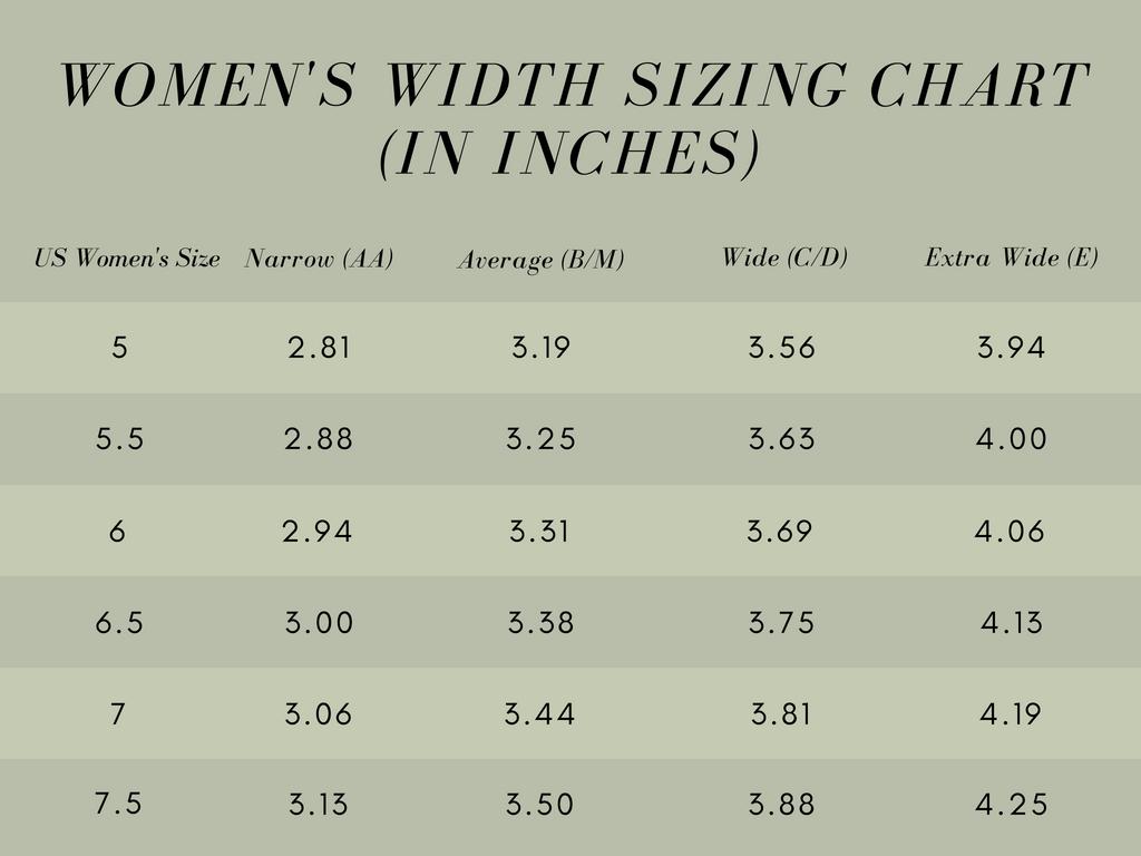 womens shoe width sizing chart 1
