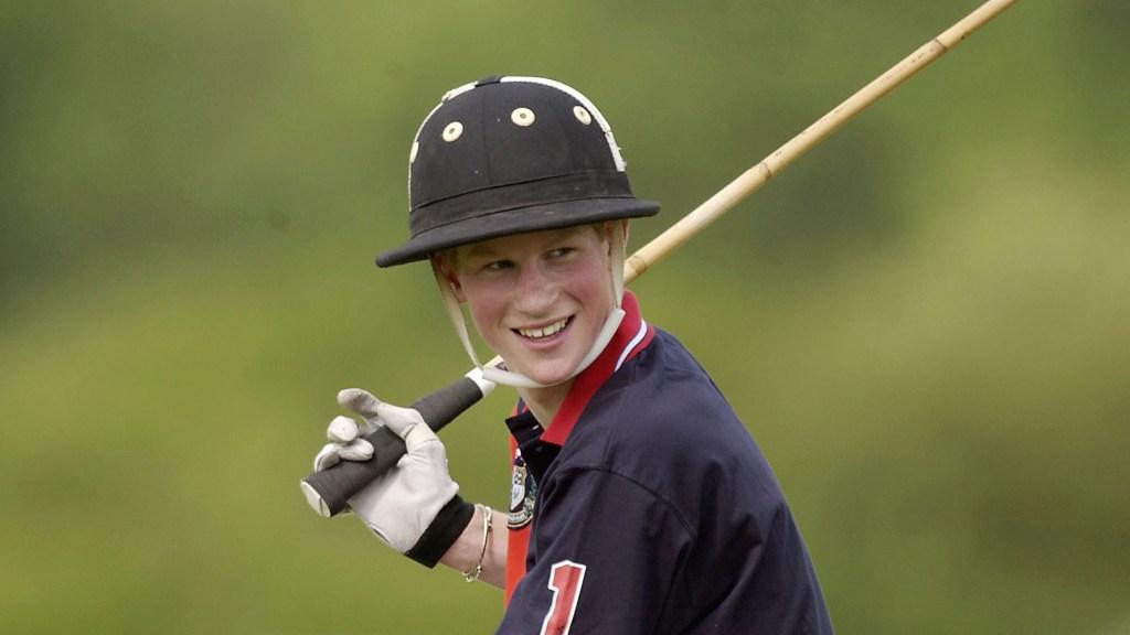 Teen Prince Harry playing polo