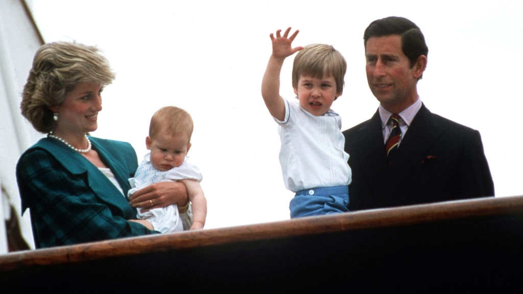 Prince Harry as an infant with Princess Diana, Prince William, and Prince Charles