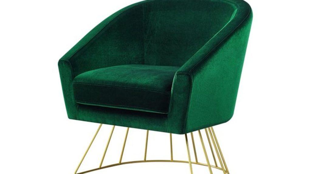 Green velvet chair with gold metal legs