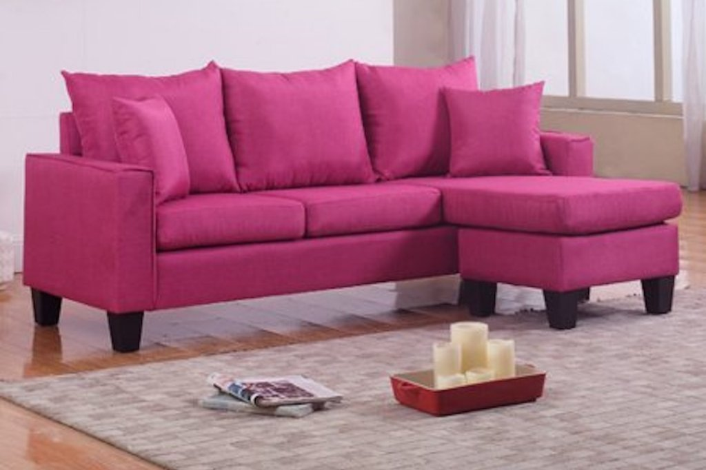 small pink sectional seating
