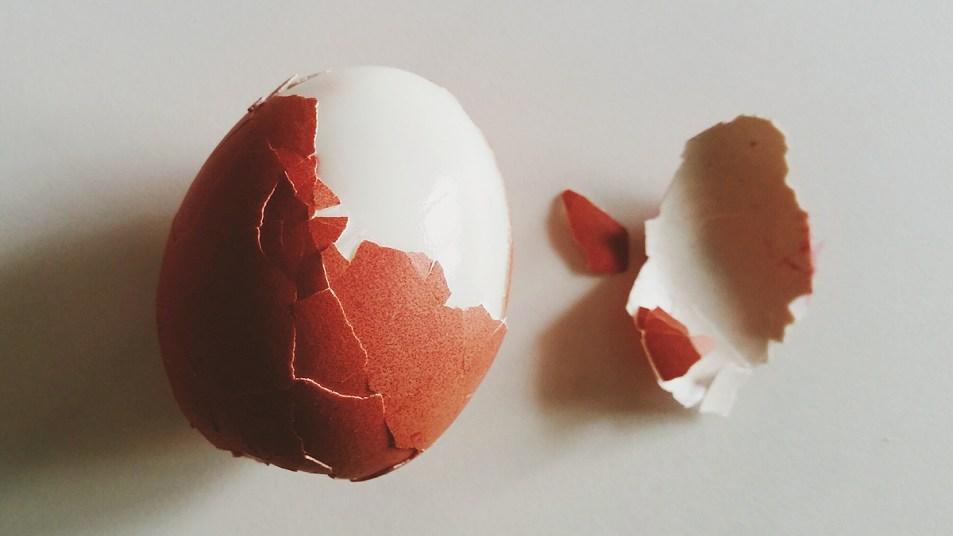 Partially peeled egg