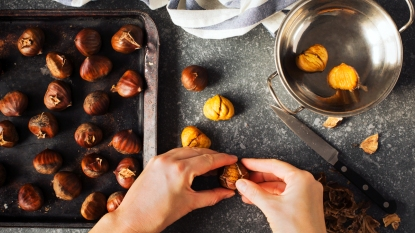 Pan of chestnuts