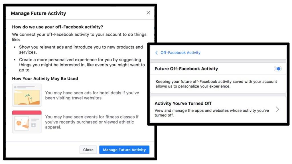 Screencap of Off-Facebook Activity page