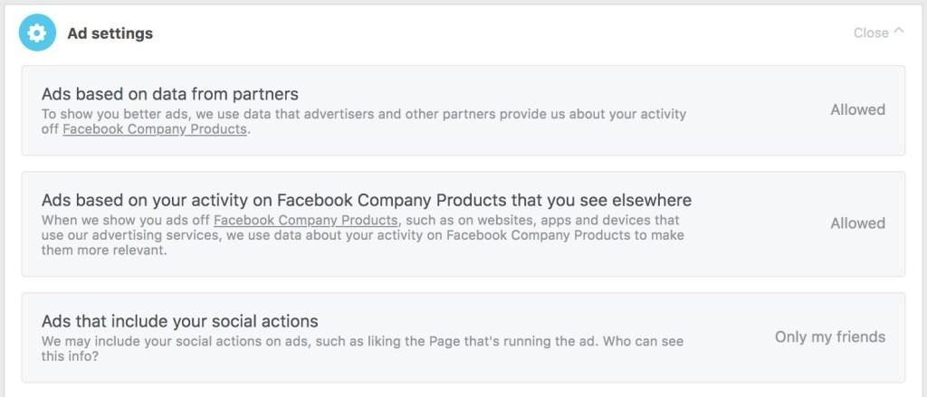 Screencap of Facebook ad settings
