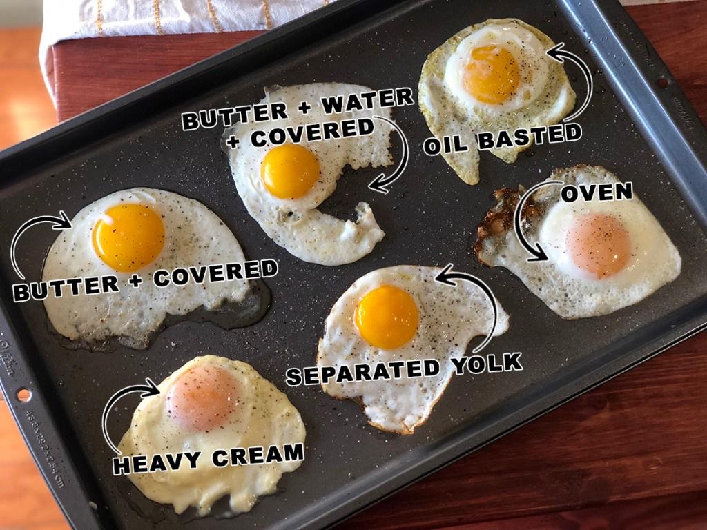 Pan of fried eggs