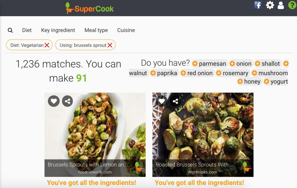 Screenshot of SuperCook website