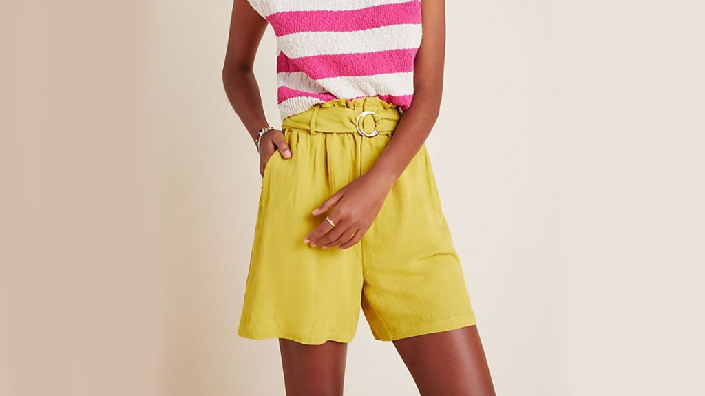 yellow shorts for women over 50
