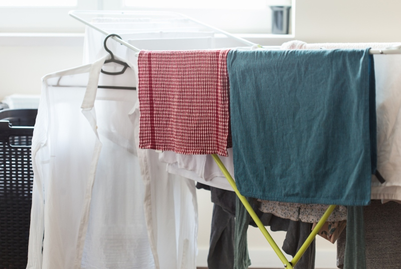 Clothes on drying rack