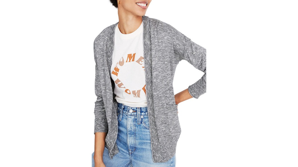 lightweight summer cardigan in marled gray