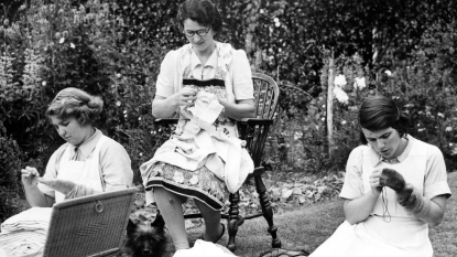 British women darning socks for troops during World War II