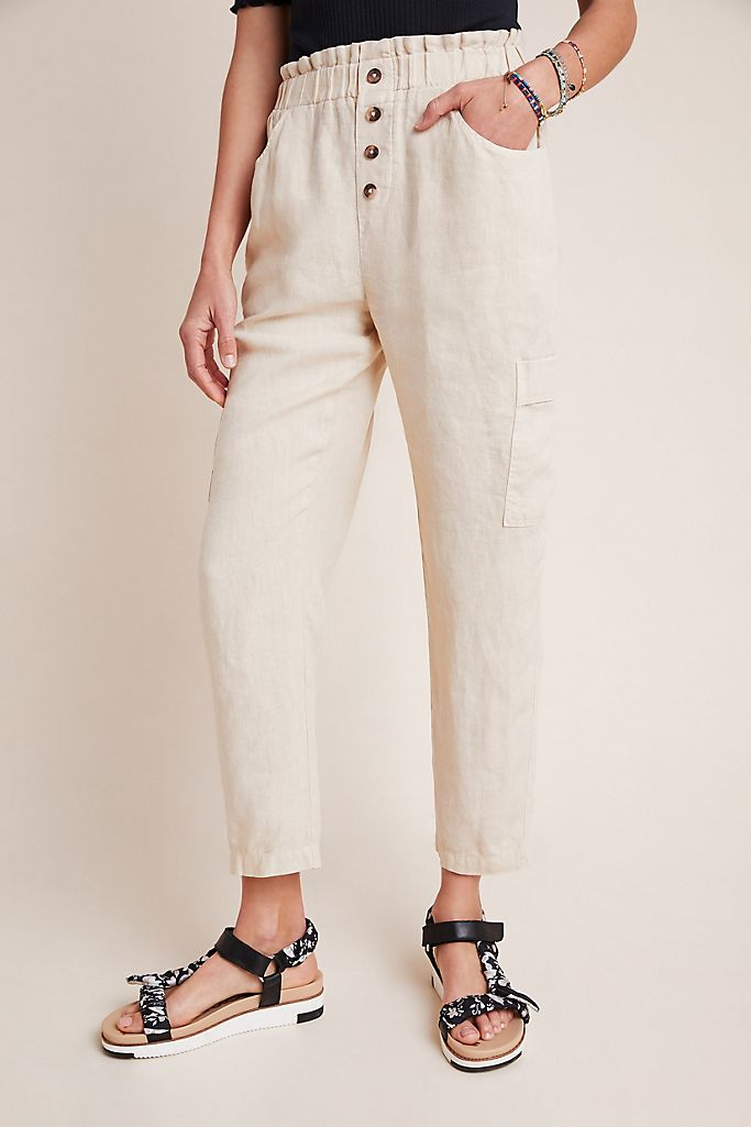 Anthropologie Linen Utility Pants