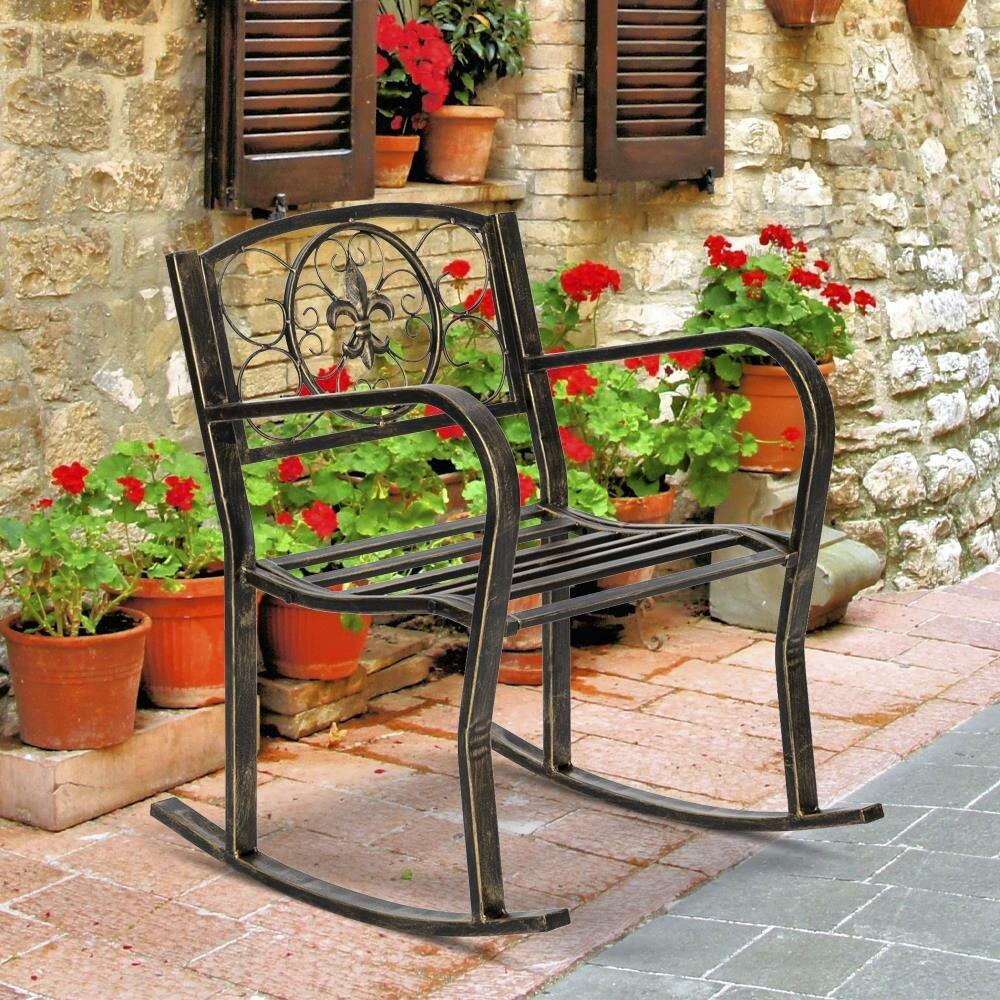 metal iron outdoor rocking chair