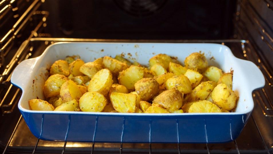 Potatoes roasting in oven