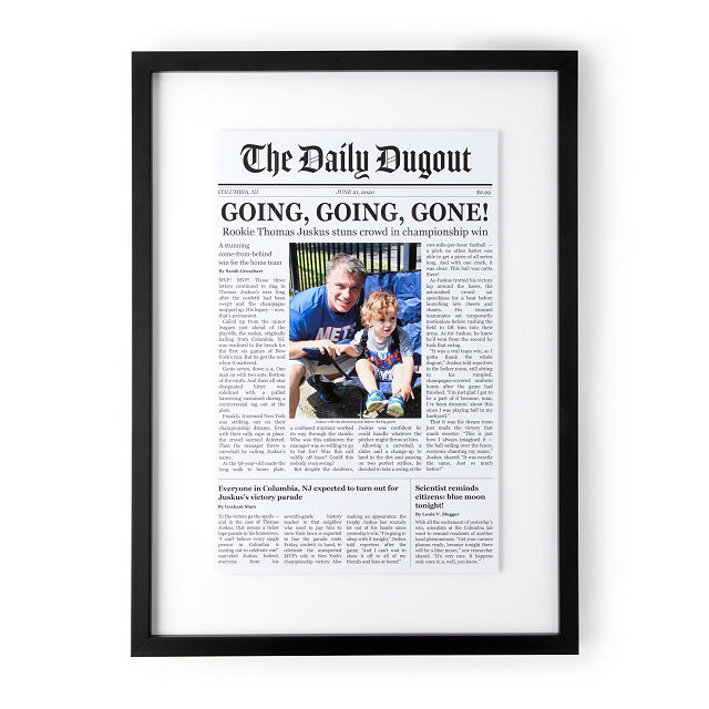 personalized front page baseball story