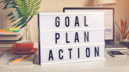 """Sign reading """"goal, plan, action"""""""