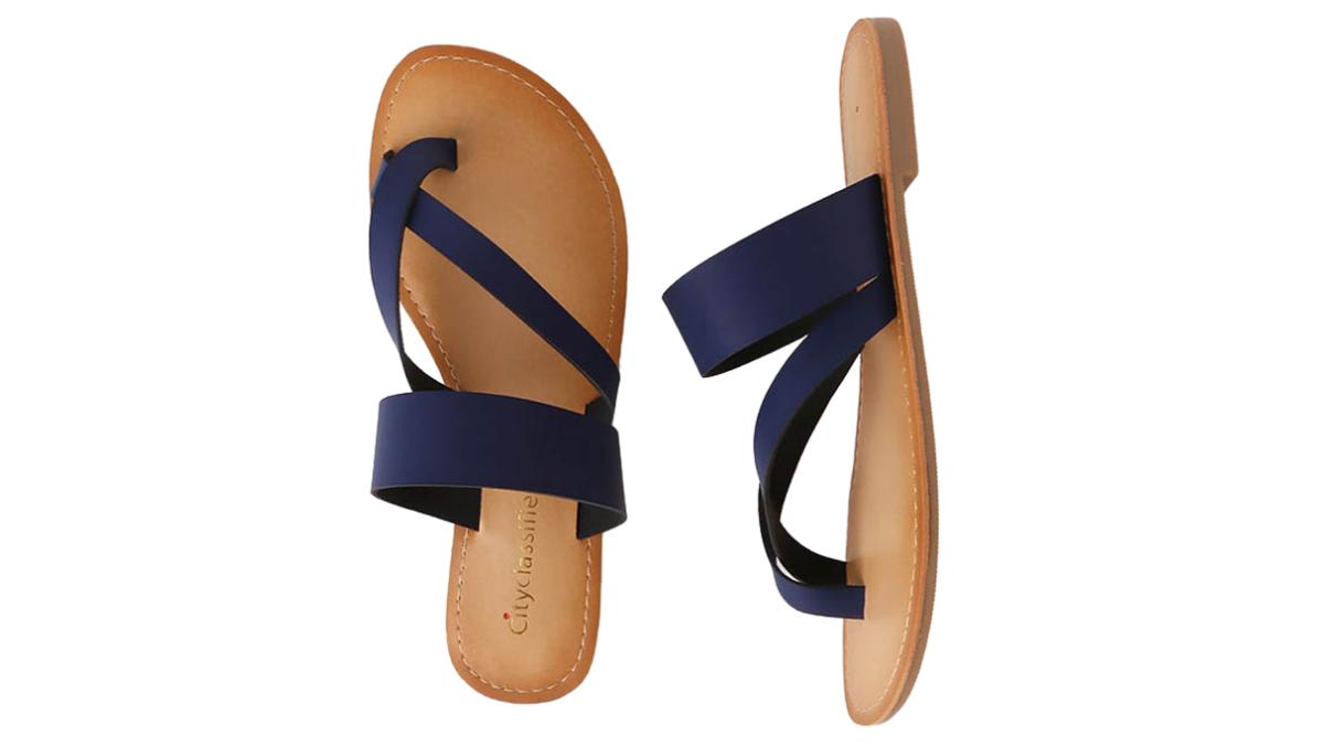 navy flat summer sandals