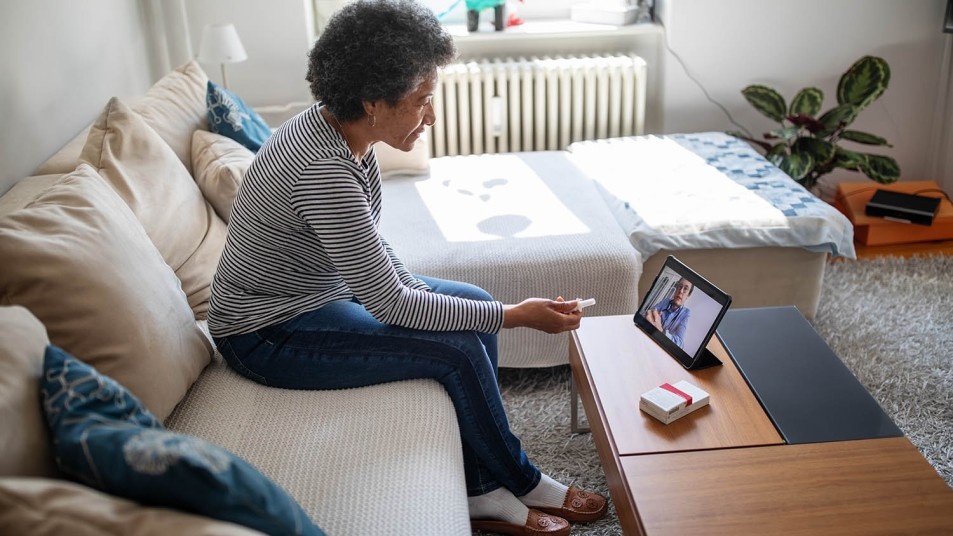 woman having a telemedicine appointment