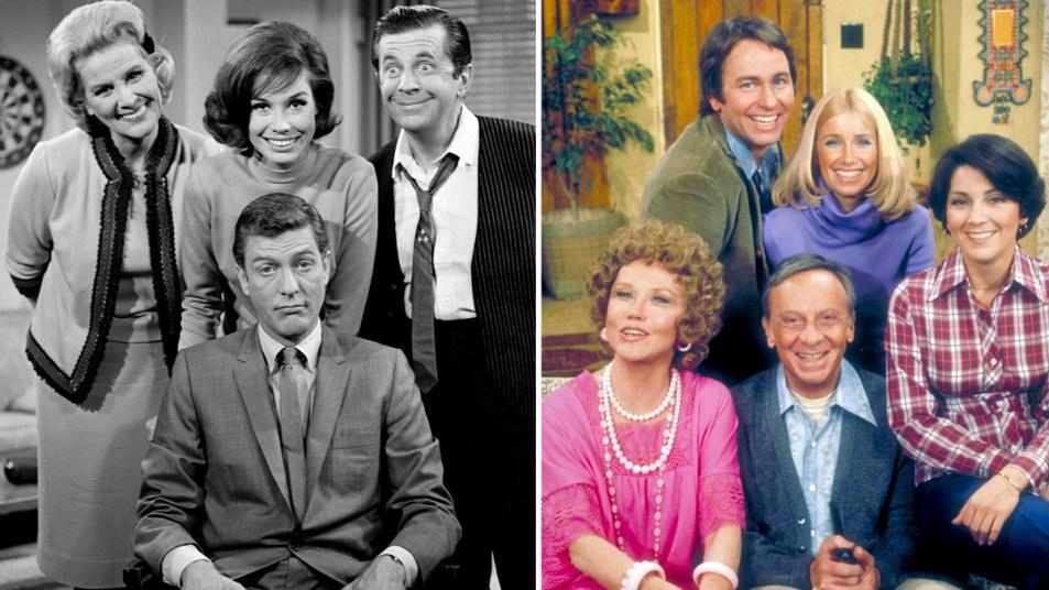 Cast photos of 'The Dick Van Dyke Show' and 'Three's Company'