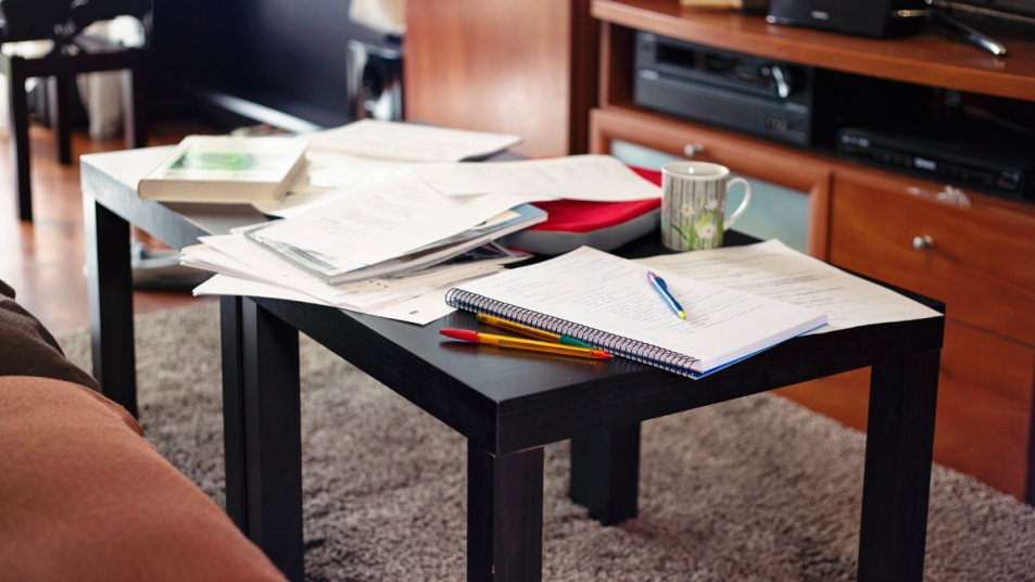 Cluttered coffee table