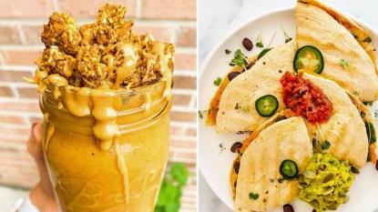 Pumkin smoothie on left, quesadilla on right