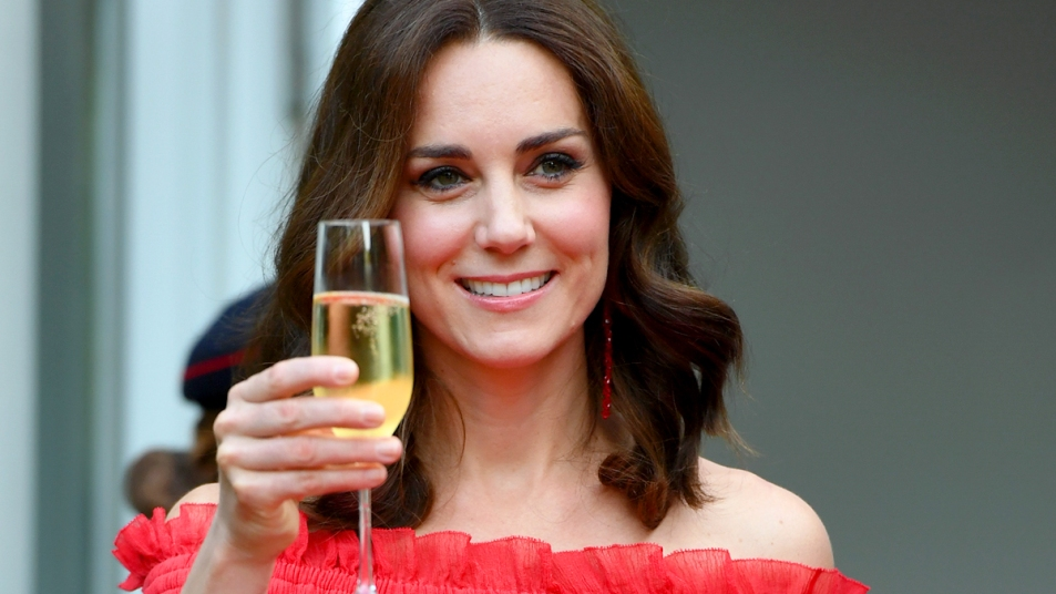 Kate Middleton with glass of champagne
