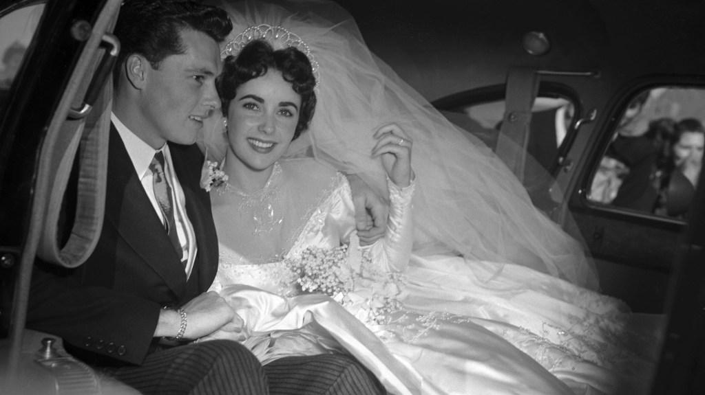Elizabeth Taylor at her first wedding to Conrad Hilton