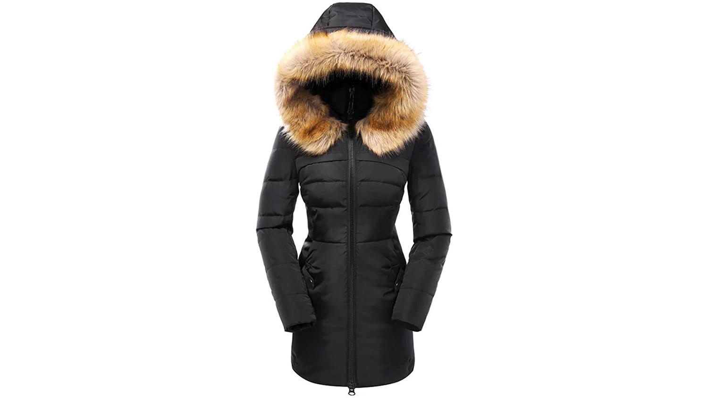 coat with fur hood