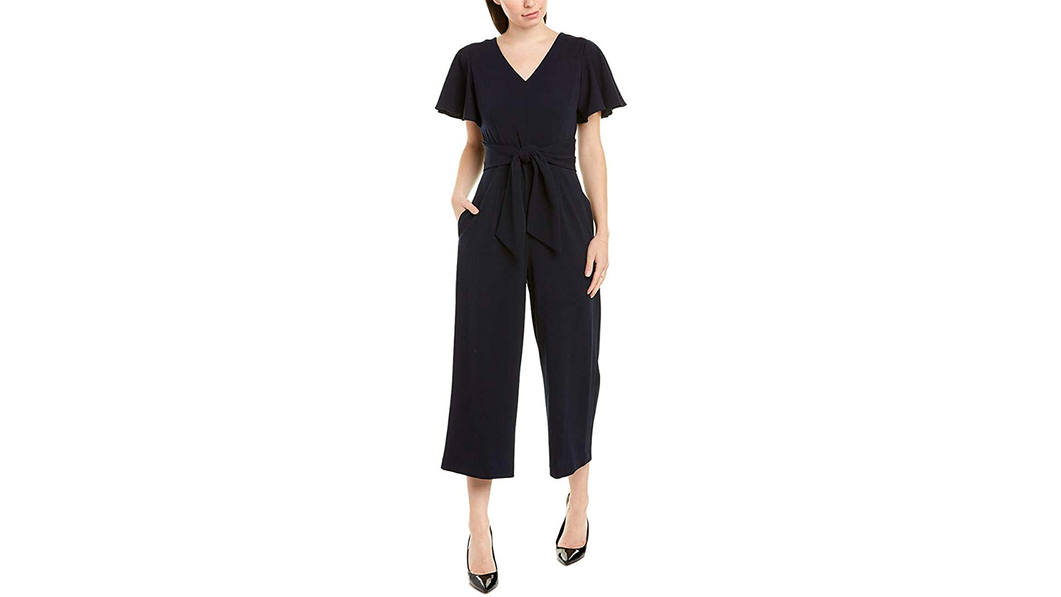 navy jumpsuit with flutter sleeves