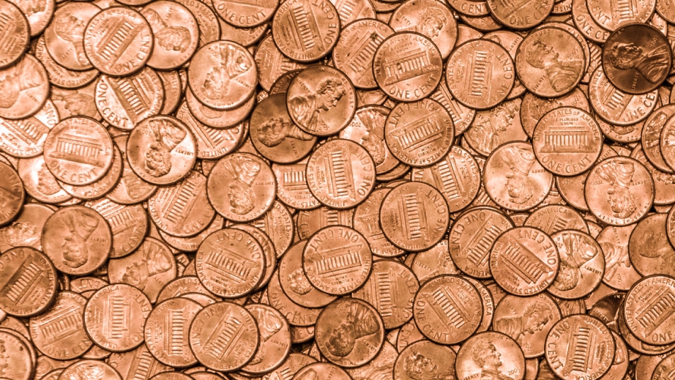 Close up pile of pennies