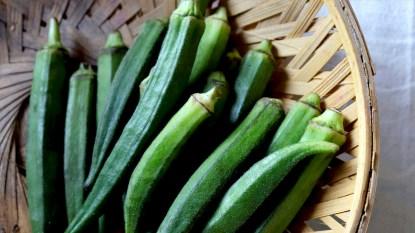 Plate of raw okra