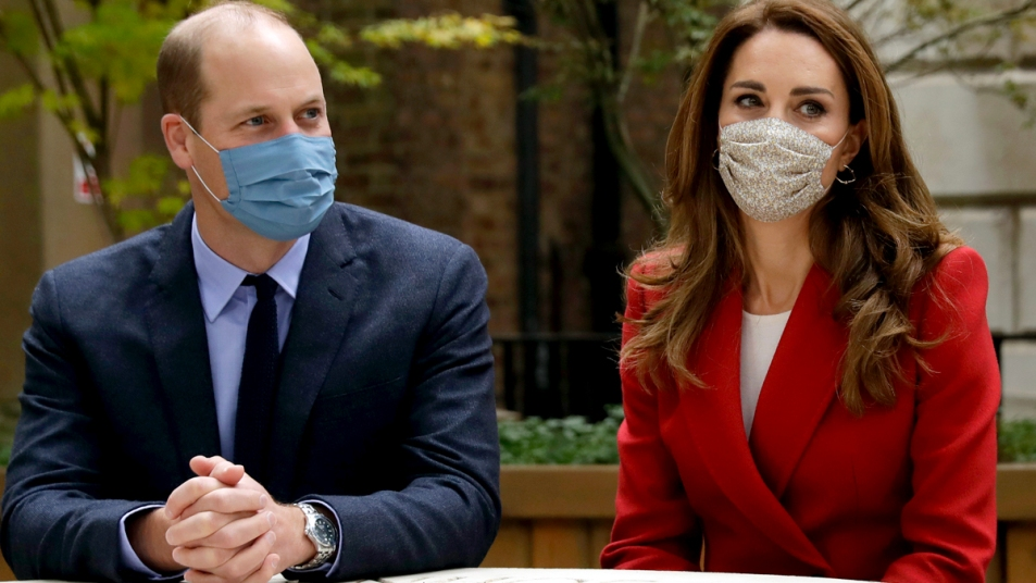 Prince William and Kate Middleton wearing masks