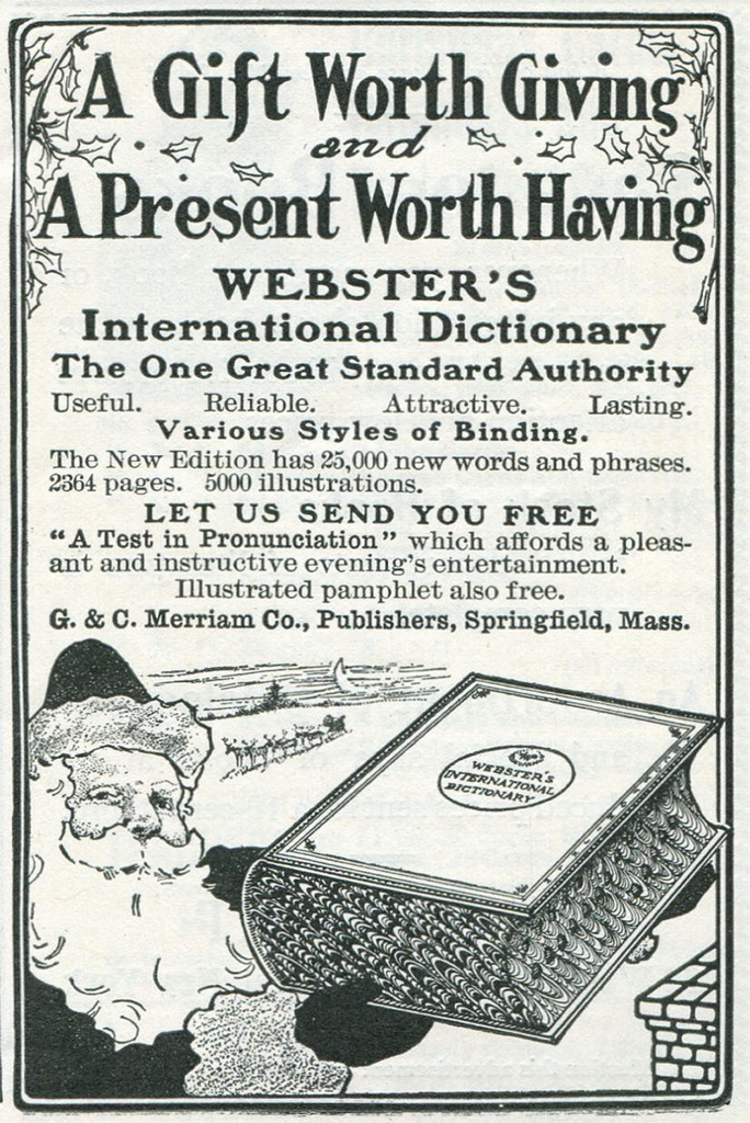 Webster's Dictionary ad from 1902