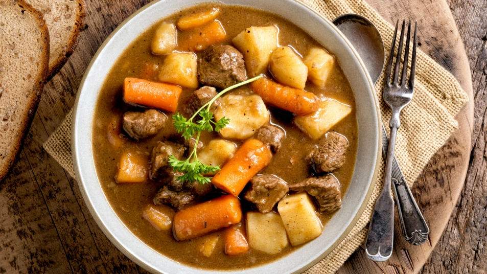 Stew with beef, potatoes, and carrots