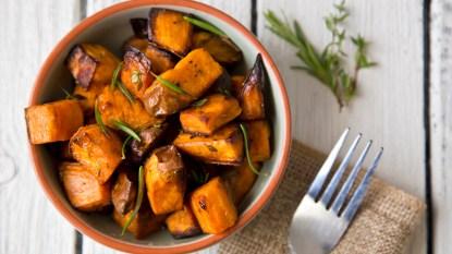 Bowl of roasted sweet potatoes