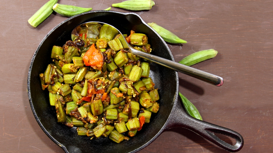 Skillet with cooked okra