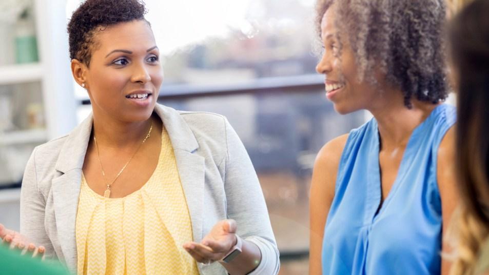 Women talking in a group
