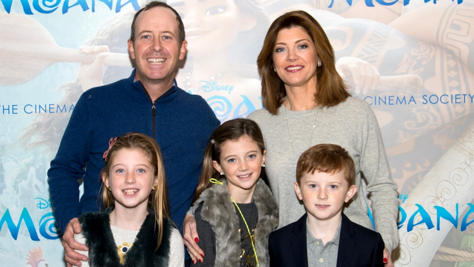 Norah O'Donnell with her family at Moana premiere