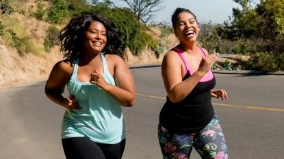 Two women jogging