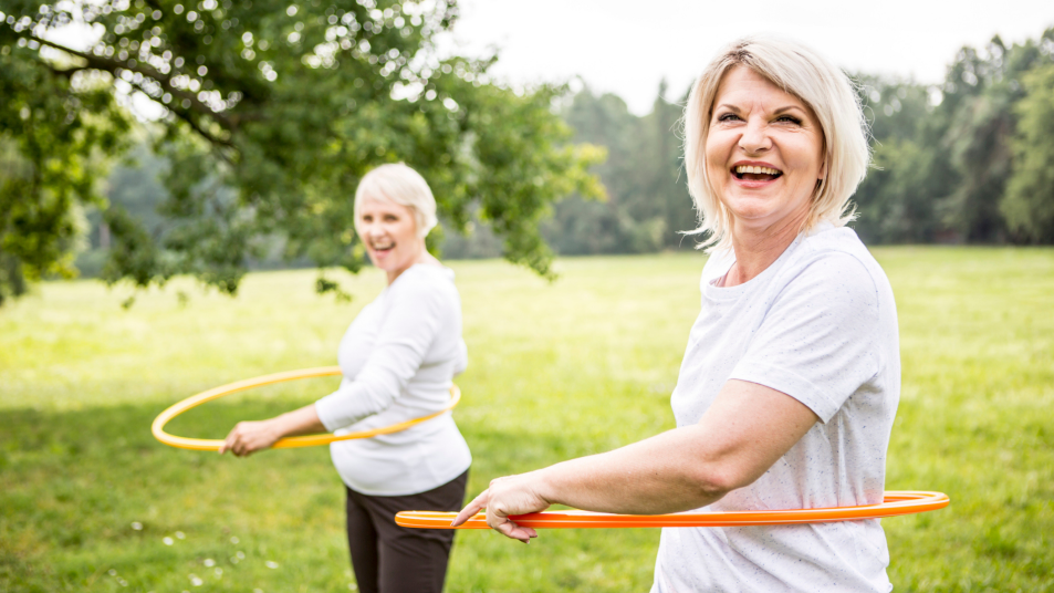 exercising with a hula hoop