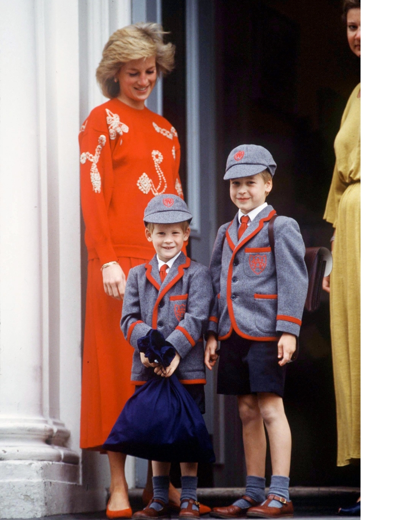 Princess Diana with young William and Harry on his first day of school